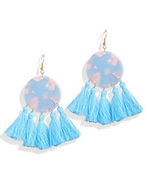 Fashion Blue Acrylic Tassel Earrings