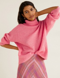 Fashion Pink High Neck Sweater