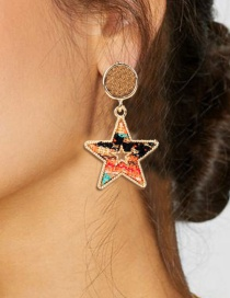 Fashion Color Star Woven Earrings