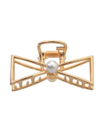 Fashion Gold Alloy Bow Pearl Clip