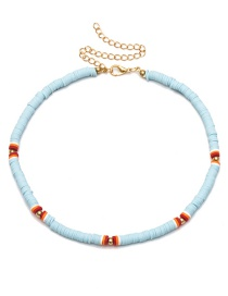 Fashion Blue Beaded Soft Slab Geometric Necklace