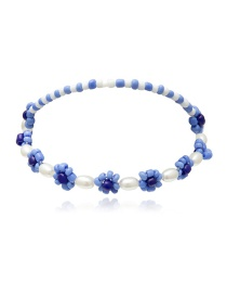 Fashion Blue Geometric Daisy Pearl Beaded Anklet