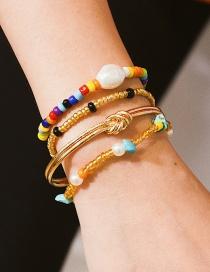 Fashion Four-piece Gold Stretch Knotted Geometric Beads Shaped Pearl Bracelet Set