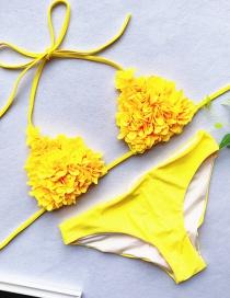 Fashion Yellow Sewed Flower Triangle Bag Bikini