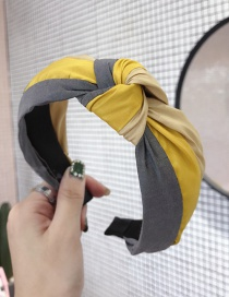 Fashion Gray Yellow Rainbow Contrast Stitching Knotted Wide-brimmed Headband
