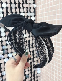 Fashion Black Lace Openwork Pearl Bow Wide-brimmed Headband