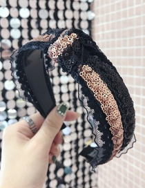 Fashion Gold Sequined Lace Knotted Toothed Non-slip Wide-brimmed Headband