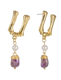 Fashion Deep Purple Natural Stone English Letter U-shaped Pearl Natural Stone Earrings