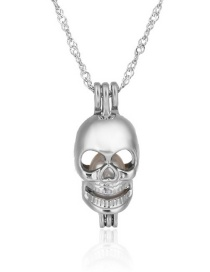 Fashion Skull Pearl Openwork Oyster Cage Necklace
