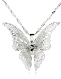 Fashion Pendant + Chain Openwork Butterfly Necklace