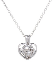 Fashion Silver Pearl Openwork Cage Necklace