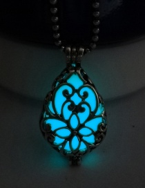 Fashion Blue And Green Luminous Openable Luminous Flat Drop Hollow Necklace