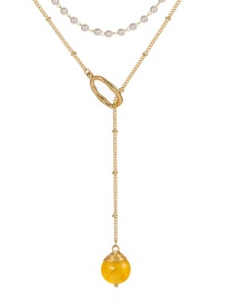 Fashion Crystal Yellow Natural Stone Pearl Chain Natural Stone Double-layer Necklace