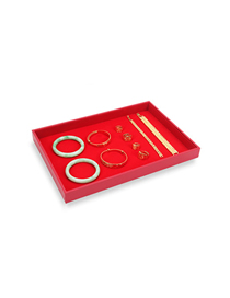 Fashion Empty Red Flannel Yellow Jewelry Display Tray