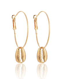 Fashion Gold Geometric Alloy Round Shell Pendant Earrings