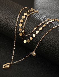 Fashion Gold Geometric Round Pearl Shell Multi-layer Necklace