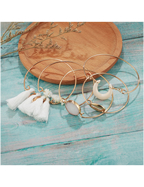 Fashion White Turquoise Shell Wire Rope Tassel Bracelet (5 Pieces)