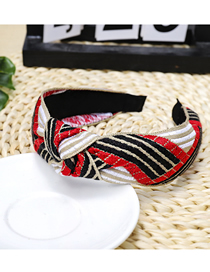 Fashion Red Plaid Knotted Headband Wide-brimmed Color Headband