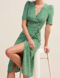 Fashion Green Printed V-neck Dress