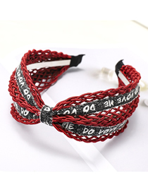 Fashion Wine Red Woolen Woven Headband Woollen Woven Letter Headband
