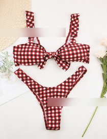 Fashion Red Grid Plaid Flashing Knotted Split Swimsuit