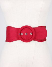 Fashion Red Leopard Pattern Large Ring Pin Buckle Wide Belt