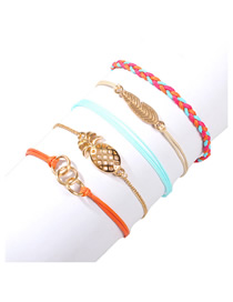 Fashion Color Alloy Rope Braided Bracelet Set