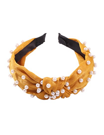 Fashion Yellow Cloth Pearl Knotted Headband