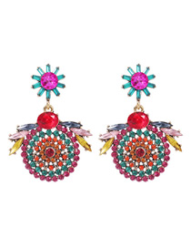 Fashion Color Alloy Diamond Round Flower Earrings