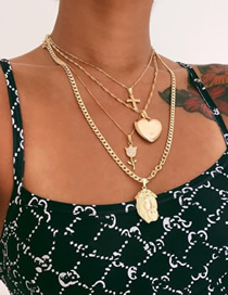 Fashion Gold Alloy Love Rose Head Multilayer Necklace