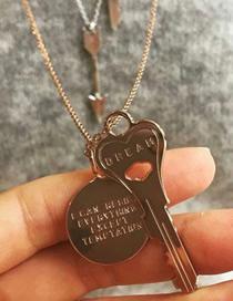 Fashion Gold Alloy Key Necklace