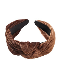 Fashion Gradient Brown Gold Velvet Knotted Headband