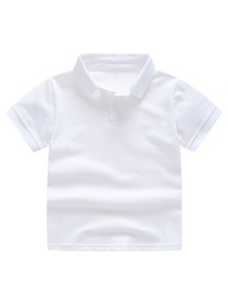 Fashion White Solid Color Lapel Children's T-shirt