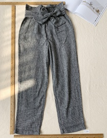 Fashion Dark Gray Plaid Bow Pants