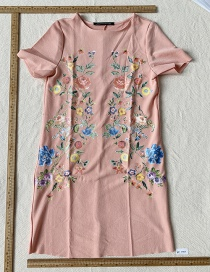 Fashion Leather Pink Printed Dress