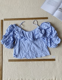 Fashion Blue Striped Bubble Show Sling Top