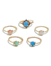 Fashion Gold Diamond Gemstone Ring Set