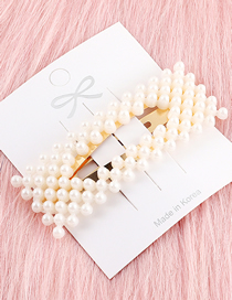 Fashion Gold Hollow Rectangular Pearl Hairpin