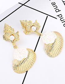 Gold Shell Conch Pearl Earrings