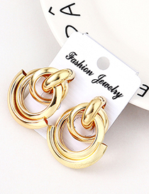 Fashion Kc Gold Double Row Of Small Earrings