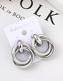Fashion White K Big Circle Earrings