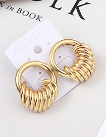 Fashion Kc Gold Cylinder Hollow Earrings