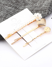 Fashion Gold Smiley Love Small Pearl Hairpin Set