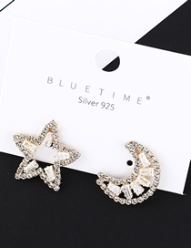 Fashion Gold Plated Gold Star Month S925 Silver Needle Stud Earrings