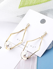 Fashion 14k Gold+white Plated Gold-plated Geometric Pearl S925 Silver Needle Stud Earrings