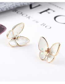 Fashion White Plated Gold Butterfly S925 Silver Needle Earrings