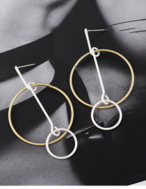 Fashion Gold Size Ring S925 Silver Needle Earrings