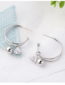 Fashion Platinum Plated Gold Moon S925 Silver Needle Earrings