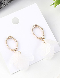 Fashion White Small Lotus Leaf Earrings