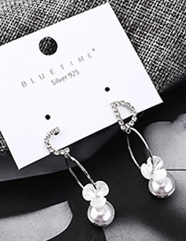 Fashion Silver Plated Gold Letter Flower Pearl S925 Silver Needle Earrings